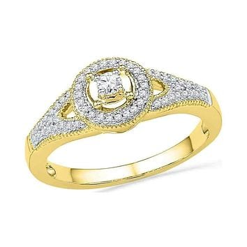 10kt Yellow Gold Women's Round Diamond Encircled Solitaire Milgrain Promise Bridal Ring 1/4 Cttw - FREE Shipping (US/CAN)