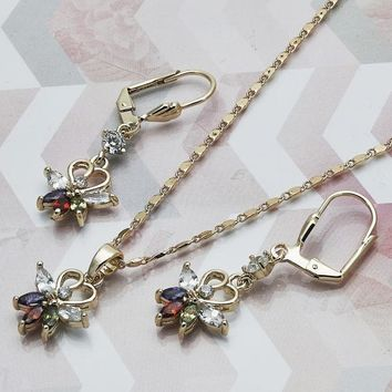 Gold Layered Women Leaf Earring and Pendant Adult Set, with Multicolor Cubic Zirconia, by Folks Jewelry