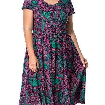 Streetstyle  Casual Round Neck Plus Size Flared Dress In Paisley Printed
