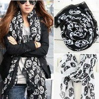 Stylish Skull Print Scarf (Black/White) from 1Point99.com