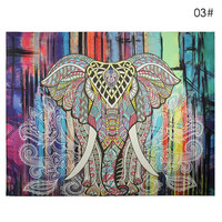 Elephant Tapestry Colored Printed Decorative Mandala Indian Tapestry