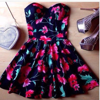 Strapless Floral Dress [6259217476]