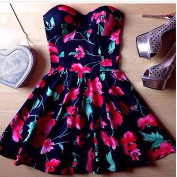 Strapless Floral Dress [7278864967]