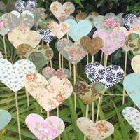 200 Shabby Chic Roses Hearts On A Stick - Wedding Aisle Decoration Beach Wedding Garden Wedding Baby Shower decoration Baby's first birthday