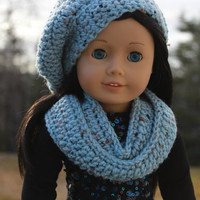 beret style crochet slouch hat with infinity scarf, spa blue fleck, 18 inch doll clothes, Maplelea