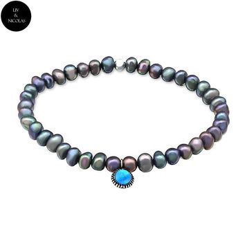 Solid 925 Sterling Silver Colorful Fresh Water Pearl , Zirconia Opal Stone Bracelets