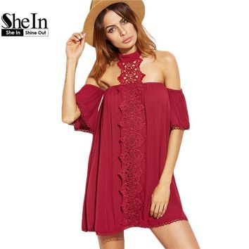 SheIn New Arrival Dress 2017 Clothes Women Burgundy Embroidered Lace Applique Halter Neck Half Sleeve Beach Dress