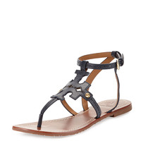 Phoebe Leather Flat Sandal, Tory Navy - Tory Burch