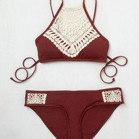 Women Blooming Above Lace Halter Bikini Set