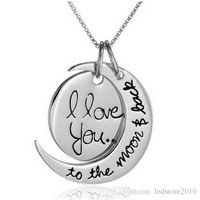 2015Fashion Two Piece I Love You To The Moon and Back Silver Gold Pendant Necklace Valentine's Day christmas Gift Chain