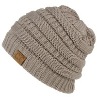 Unisex Winter Chunky Soft Stretch Cable Knit Slouch Beanie Skully Hat Cap Gray