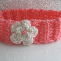 Crochet Toddler Head Band / Coral Pink Ear Warmer / Photo Prop / Winter Hair Band  White and Gold Flower / Boho Toddler / Winter Baby