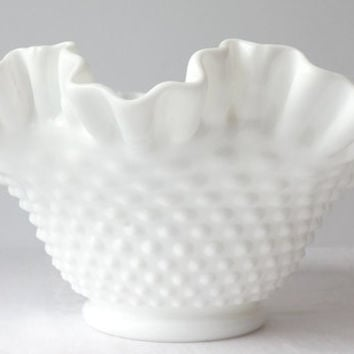 Fenton Milk Glass Bowl, White Ruffled Rim, Hobnail Pattern, Mid Century Art Glass, Wedding Table Decor