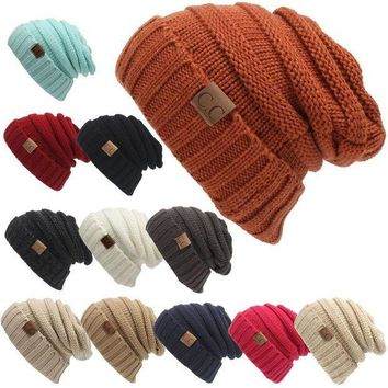 CREYH2N Winter Hats for Women CC Labeling Knitted Beanie Casual Solid Color Hip-Hop Skullies Bonnet Gorro Bone Mens Warm Crochet Hat