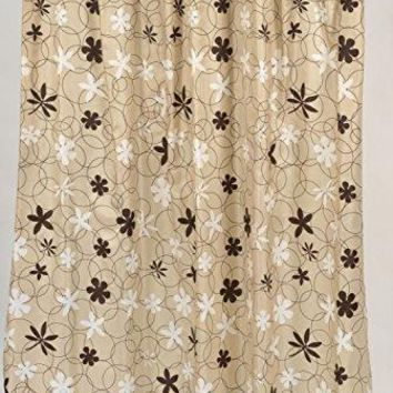 BenandJonah Collection Fabric Shower Curtain 70 x 72 inch  Flower Party Brown