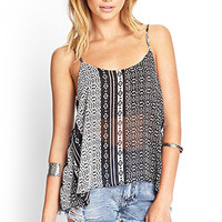 FOREVER 21 Tribal Print Chiffon Cami Cream/Black