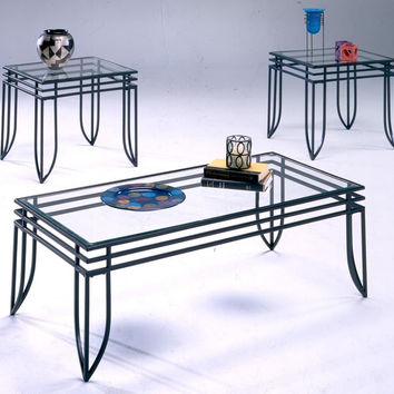 Matrix Black & Glass Coffee Table Set