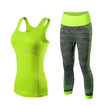 New Arrival Women Athletic Gym Yoga Clothes Running Fitness Stripe Sleeveless Sport Vest + Pants Sets