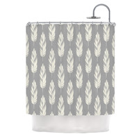 "Amanda Lane ""Feathers Gray Cream"" Grey Pattern Shower Curtain"