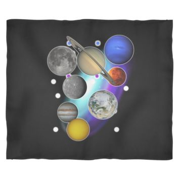 "Solar System Planets Fleece Blanket by Living You Co. | Solar System Planets Blanket, Solar System Planets Throw Blanket, | Small 40"" x 30"", Medium 60"" x 50"", Large 80"" x 60"""