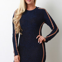 Metallic Tinsel Knit Striped Side Bodycon Dress | UrbanOG
