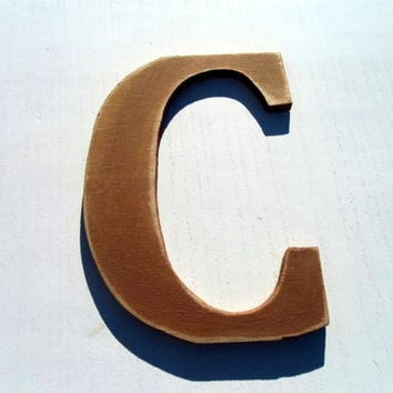 wood letter C hanging decor rustic 8 inc alphabet letters Distressed wooden letter wall hanging nursery wood names cottage chic brown
