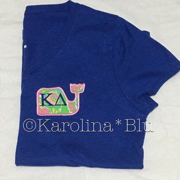 Appliquéd Monogrammed Whale Vneck with Initials or Sorority letters with Lily Pulitzer fabric.  Several prints to choose from