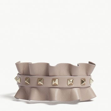 VALENTINO Rockstud frilled leather bracelet