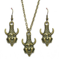 SUPERNATURAL NECKLACE EARRINGS SET Dean Jensen Winchester Protection Amulet GJ85