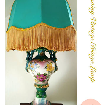 Vintage Hollywood Regency Lamp Blue and Gold Floral Lamp / Hand Painted / Urn Lamp/ Fringe Lamp/ Vase Lamp/ Boho Decor / Shabby Chic