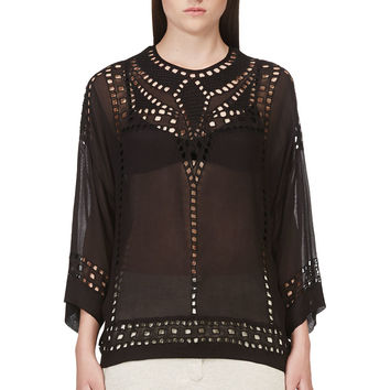 Isabel Marant Etoile Black Embroidered Ethan Top
