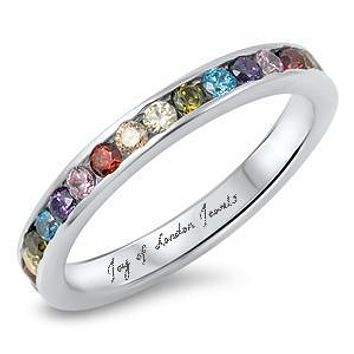 925 Sterling Silver Multi Color Gemstone 2mm Wedding Band Eternity Ring