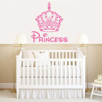 Wall Decal Vinyl Sticker Decals Art Decor Design Crown Sign Princess Nursery Kids Children Fairy Tale Love Family Disney Dream Bedroom(r376)