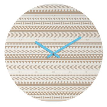 Allyson Johnson Tan Aztec Round Clock