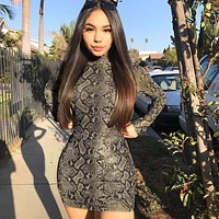 Women Fashion Retro Snake Print Long Sleeve Tight Turtleneck Mini Dress