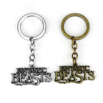 Two Colors Fantastic Beasts and Where to Find Them Keychain Gift for Best Friends Vintage Metal Key Holder Llaveros