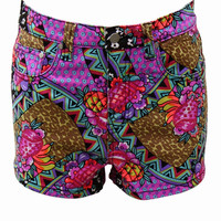 MINKPINK Africana Pop Print Denim Shorts