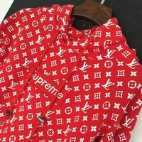 Kalete LV Supreme Fashion Embroidered tea red hooded sweater