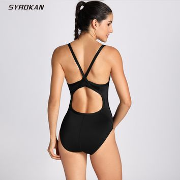 SYROKAN Women's Sleek Solid Elite Training Suit Sporty Athletic with Cups Padded  One Piece Swimsuit
