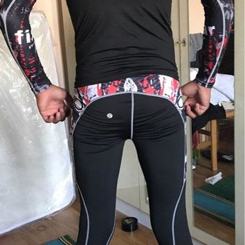 Men's Sports Printed Running Pants Football Basketball Gym Fitness Bottom Indoor and Outdoor Training Pants