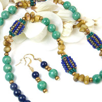 Tribal African Bead Necklace, Green Amazonite, Blue Lapis, Brown Coral, Matching Earrings, Handmade Beaded Jewelry