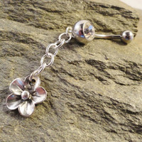 Flower and Chain Belly Button Ring, Dangle Belly Button Jewelry Piercing