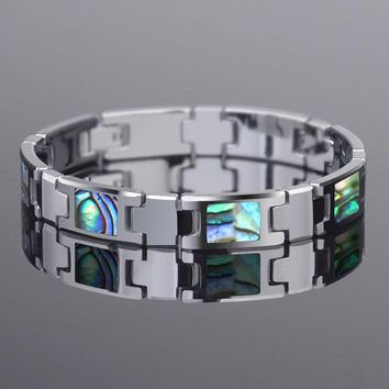New Arrival 20CM Length Tungsten Carbide Bracelets Inlay Colorful Deep Sea Shells For Man's Fashion Chain Jewelry Free Shipping
