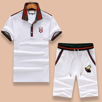 GUCCI Summer Fashion Casual Embroidery Shirt Top Tee Shorts Set Two-Piece White