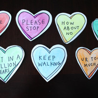 Candy Hearts Valentine's Day Cards, funny rejection cards, Includes 3 Large Hearts & 4 Mini Hearts