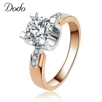 DODO Vintage Bijoux 585 Rose Gold Color AAA Crystal anillos Jewelry Ring Antique Wedding Engagement Rings Women bijouterie KDR15