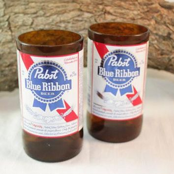 Drinking Glasses from Recycled Pabst Blue Ribbon Beer Bottles, 8 oz, Unique Barware, ONE glass