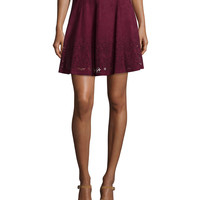Inaja Laser-Cut Suede A-Line Skirt, Merlot, Size: