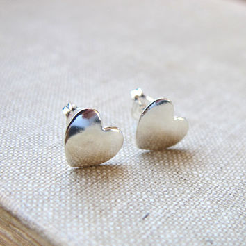Sterling Silver Heart Studs. Heart Stud Earrings. Romantic Earrings. Love Post Earrings. Gift for her. Gold/ Silver Heart Post Studs for her