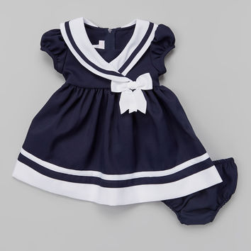 Navy & White Nautical Cap-Sleeve Dress & Diaper Cover - Infant